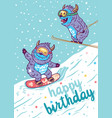 cartoon yetis skiing and lettering happy birthday vector image