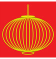 chinese style lantern in yellow with black stroke vector image vector image