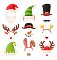 christmas photo booth festive mask set on white vector image