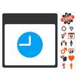 clock calendar page icon with valentine bonus vector image vector image