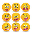comic yellow faces icons set for web vector image