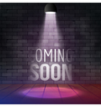 Coming soon message illuminated with light vector image vector image