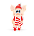 cute cartoon piglet on a while background vector image vector image