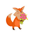 cute cartoon red fox character holding bouquet of vector image