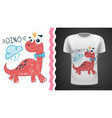 cute princess dinosaur - idea for print t-shirt vector image vector image