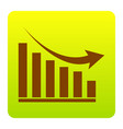 declining graph sign brown icon at green vector image