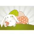 easter bunny with egg retro vector image