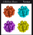 four ribbon roses vector image vector image