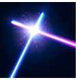 glowing rays in space crossing laser sabers war vector image vector image