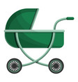 Green baby pram icon cartoon style