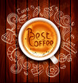 hand drawn chalk drawn doodles on a coffee theme vector image