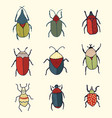 hand drawn set of whimsical cute bugs vector image vector image