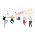 happy jumping people vector image