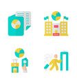 immigration flat design long shadow color icons vector image vector image