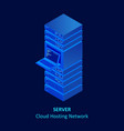 isometric cloud server isolated on blue data vector image vector image