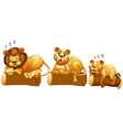 Lion family on the log vector image vector image