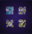 modern music genres variety neon light icons set vector image
