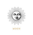 moon drawn in engraving style vector image vector image