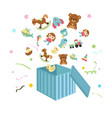 open box with childrens icons open box with vector image vector image