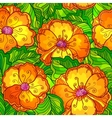 Ornate orange flowers seamless pattern vector image vector image