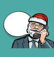 santa claus talking on phone christmas vector image vector image