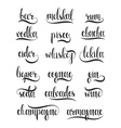 Set names of species alcohol in calligraphy vector image vector image