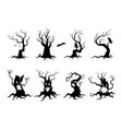 set simple spooky silhouettes tree flat vector image