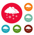 snow cloud holiday icons circle set vector image