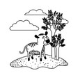 tiger cartoon in outdoor scene with trees and vector image vector image