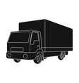 truck with awningcar single icon in black style vector image vector image