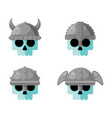 warrior skulls in helmets flat icon set vector image