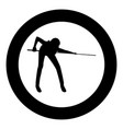 woman playing billiards icon black color in circle vector image vector image