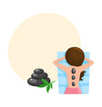 young woman getting hot stone massage in spa salon vector image vector image