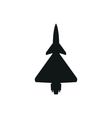 simple black icon of fighter on white background vector image