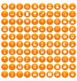 100 childrens parties icons set orange