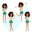 african school girl with a books in hand vector image