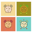 assembly flat icons kids toy alarm clock vector image