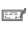 bank check filled outline icon business finance vector image