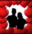 black couple silhouette in red hearts shape man vector image vector image
