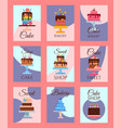 cake shop set of banners or cards vector image