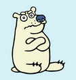 cartoon grumpy polar bear vector image