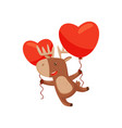 cheerful deer flying with two red balloons in vector image