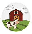 circular landscape with barn and cow vector image vector image