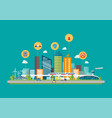 cityscape with infrastructure transportation and vector image vector image
