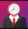 clock on businessman head face vector image