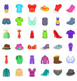 clothing accessories icons set cartoon style