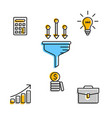 Colorful set of successful business icons vector image