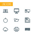 computer outline icons set collection of printer vector image vector image