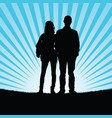 couple silhouette with prision ball in nature vector image vector image