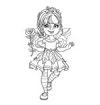 cute girl in a fairy costume holding a large rose vector image vector image